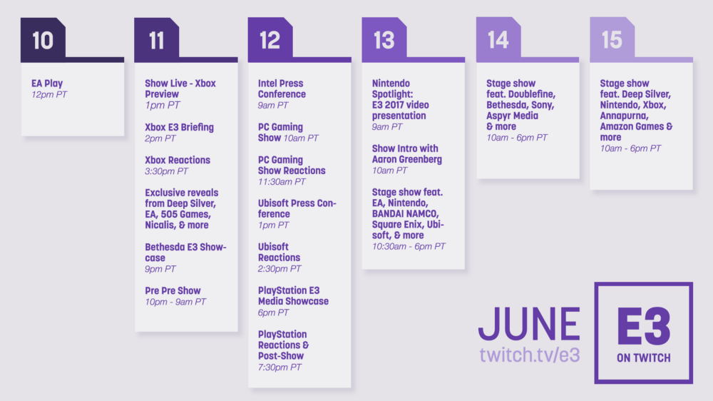Twitch E3 2017 Livestreaming Schedule Revealed