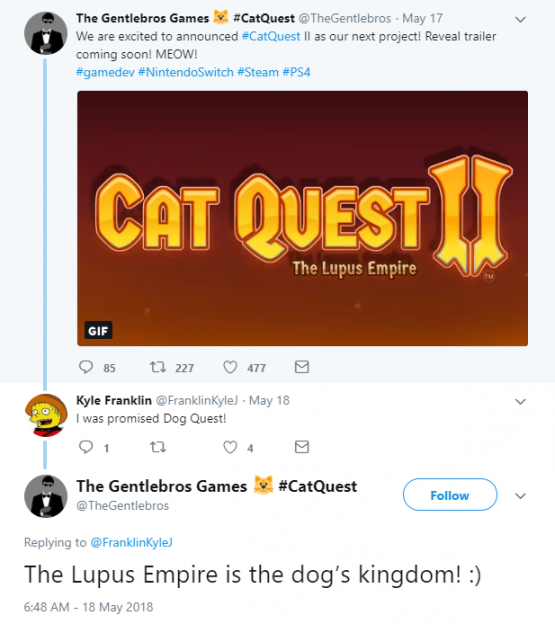 cat quest 2 the lupus empire reveal tweet