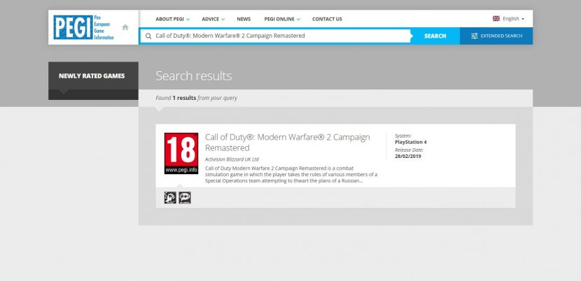 Call of Duty: Modern Warfare 2 Remastered Rated by PEGI