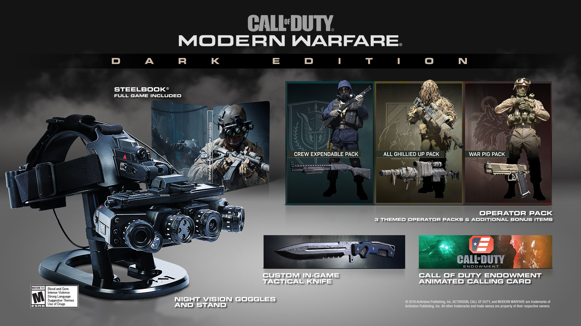 Call of Duty Modern Warfare Dark Edition Includes Night Vision Goggles