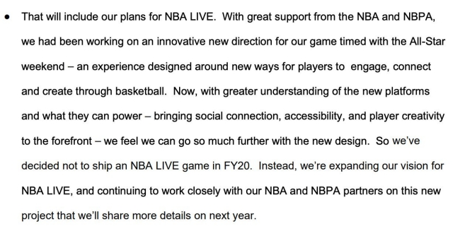 EA Sports Announces That 'NBA Live 20' Has Been Canceled