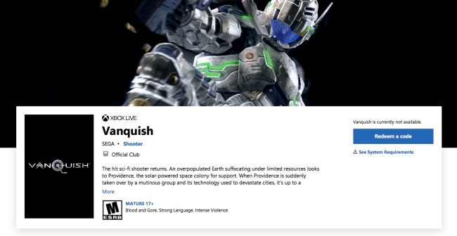 Vanquish and Bayonetta Remasters Leaked by Microsoft Store for February Release
