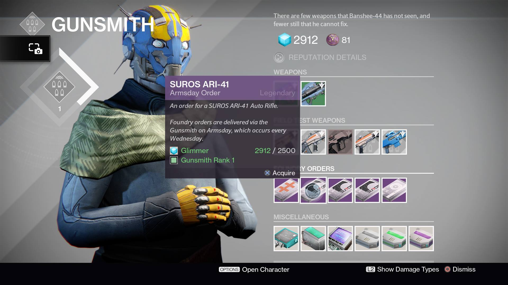 Pangamers com destiny armsday foundry orders and test weapons for