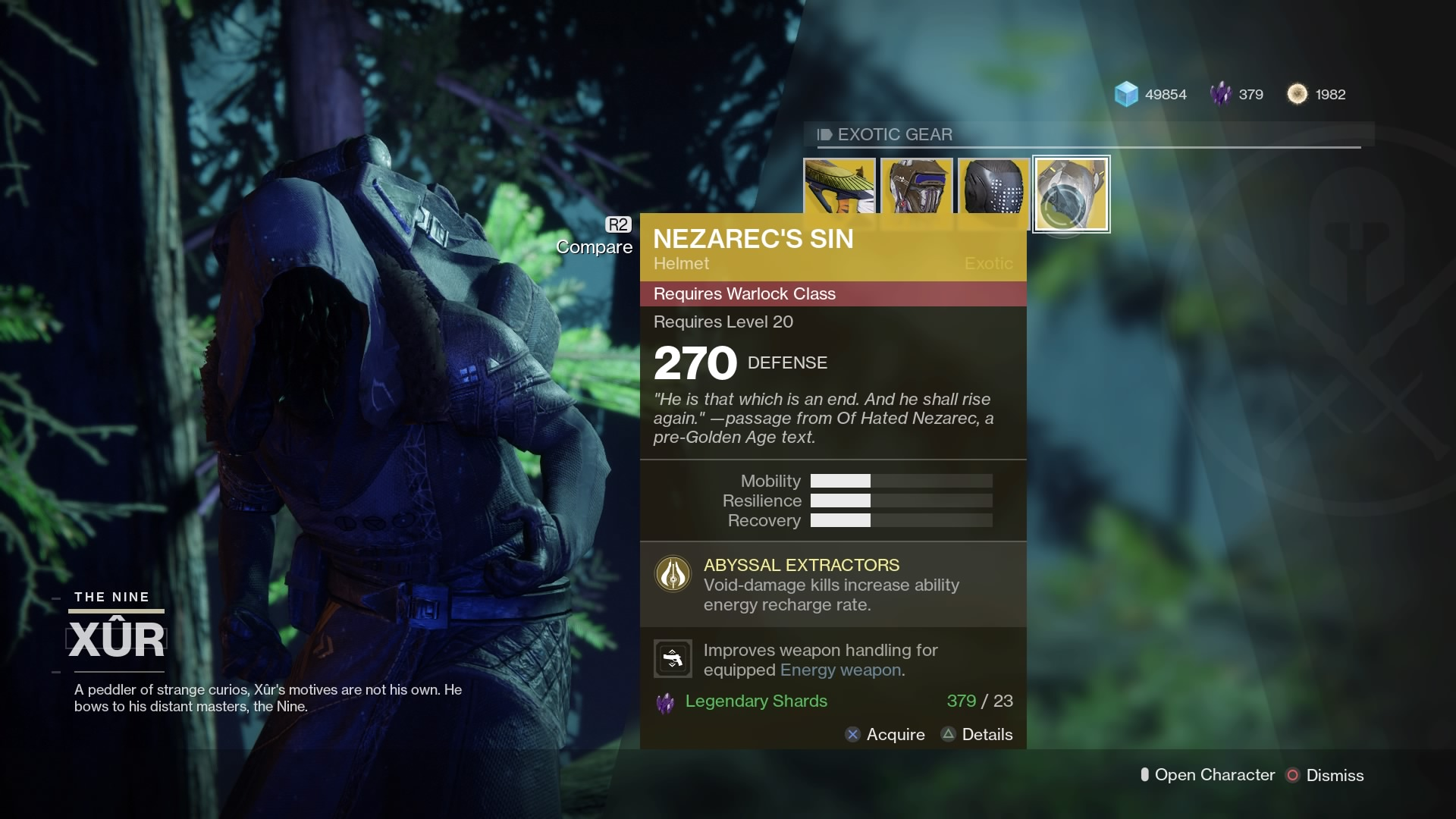 Destiny 2 Xur Location, Inventory for Oct 6-Oct 9, 2017