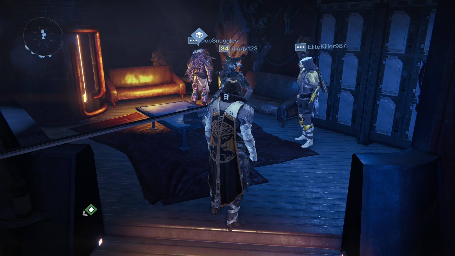 Xur – Agent of the Nine can be found in the Hunter's Lounge area, below the Hangar.